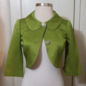 TRINA TURK green waist coat bolero shrug